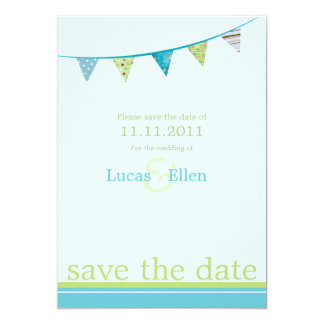 Party Flags Save The Date - Blue & Green Card