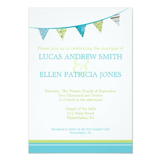 Party Flags Wedding Invitation - Blue & Green