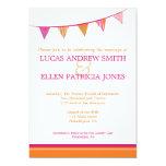 Party Flags Wedding Invitation - Pink & Orange