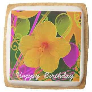 Party Flower Square Shortbread Cookies - One Dozen