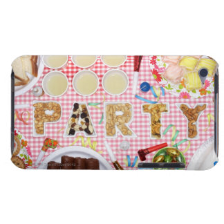 Party food on table in dishes spelling 'PARTY', iPod Touch Cover