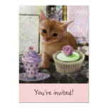 "Party For One Kitten invitations 5"" X 7"" Invitation Card"