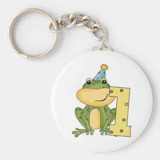 Party Frog 1st Birthday T-shirts and Gifts Basic Round Button Keychain