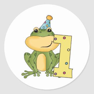 Party Frog 1st Birthday T-shirts and Gifts Classic Round Sticker
