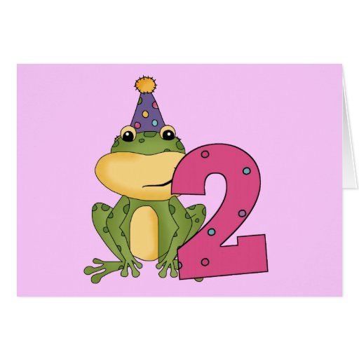 Party Frog 2nd Birthday T-shirts and Gifts Greeting Card