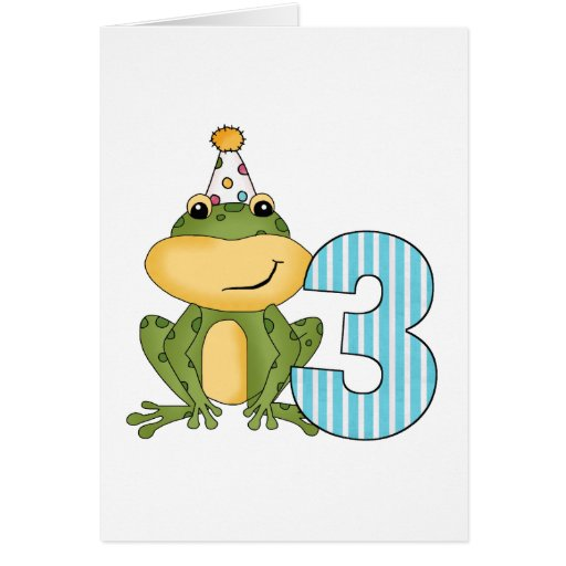 Party Frog 3rd Birthday T-shirts and Gifts Card