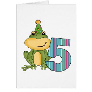 Party Frog 5th  Birthday T-shirts and Gifts Card