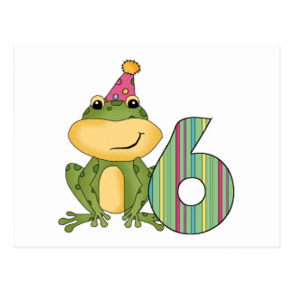 Party Frog 6th Birthday T-shirts and Gifts Postcard