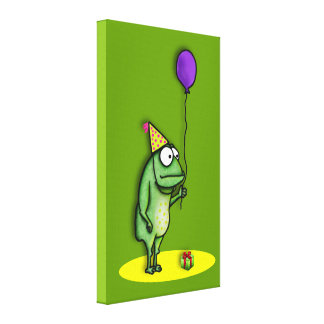 Party Frog Stretched Canvas Print