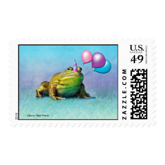 Party Frog Postage Stamp