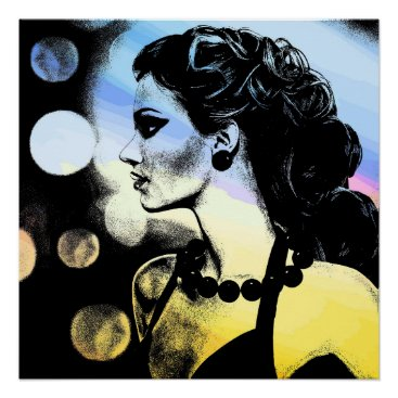 Art Themed Party Girl At Night City lights Poster