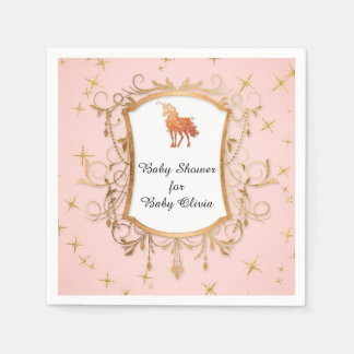 Party Girl Baby Shower Magical Unicorn Rose Gold Paper Napkin