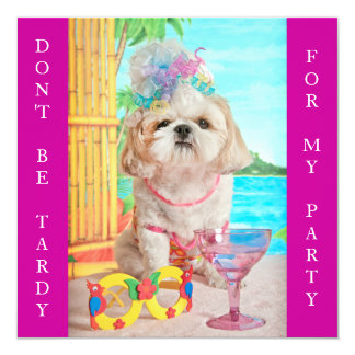 Party Girl- Don't Be Tardy Sweet 16 5.25x5.25 Square Paper Invitation Card