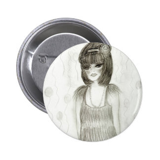 Party Girl Flapper 2 Inch Round Button