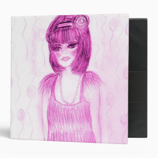Party Girl Flapper in Hot Pink 3 Ring Binder