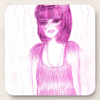 Party Girl Flapper in Hot Pink Beverage Coaster