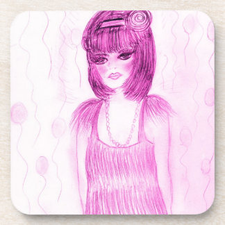 Party Girl Flapper in Hot Pink Drink Coaster