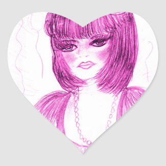Party Girl Flapper in Hot Pink Heart Sticker