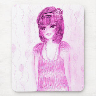 Party Girl Flapper in Hot Pink Mouse Pad