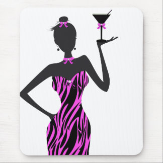 Party Girl Martini Zebra Pink Mouse Pad