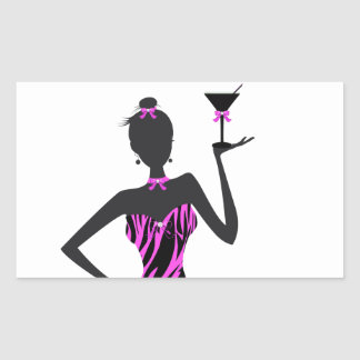 Party Girl Martini Zebra Pink Rectangle Stickers