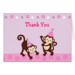 Party Girl Monkey Thank You Note Cards