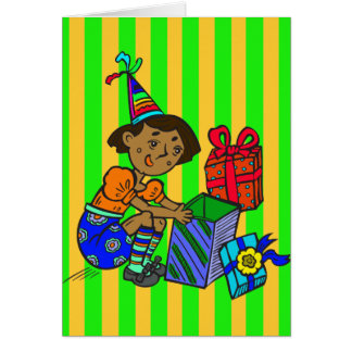 Party Girl Opening Gifts Card