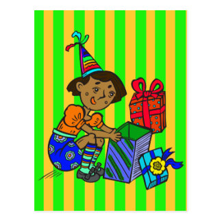 Party Girl Opening Gifts Postcard