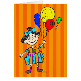 Party Girl With Balloons Card