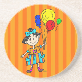 Party Girl With Balloons Sandstone Coaster