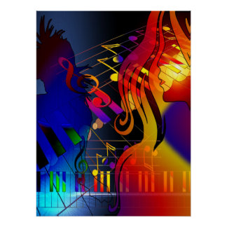 Party Girl With Music Blacklight Poster