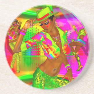 Party girls, disco dancing the night away sandstone coaster