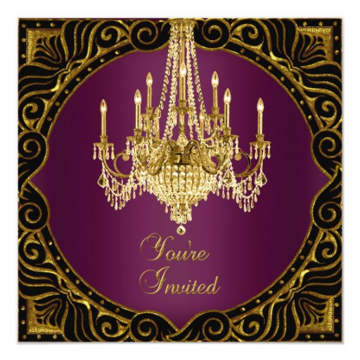 Party Gold Black Burgundy Red Wine Chandelier Announcements