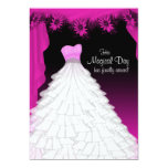 Party Gown Fuchsia Hot Pink Daisy Quinceanera Personalized Invites