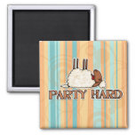 party hard 2 inch square magnet