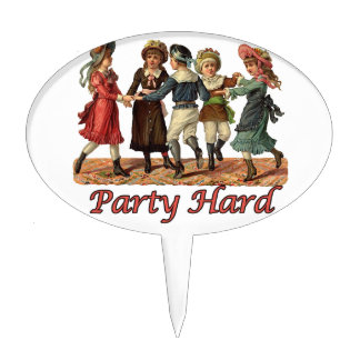 Party Hard Dancing Victorians Birthday Cake Topper