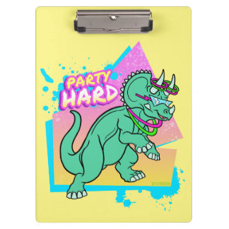 Party Hard dinosaur II -Triceratops with glowstick Clipboard