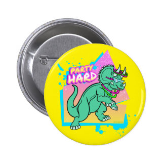 Party Hard dinosaur II -Triceratops with glowstick Pinback Button