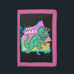 """Party Hard dinosaur II -Triceratops with glowstick Trifold Wallet<br><div class=""""desc"""">For the 80s neon jurassic dino fan!</div>"""
