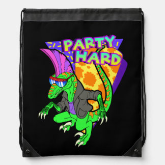 Party Hard Dinosaur Raptor 3 Tanzen Drawstring Backpack