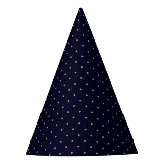 Party Hat Dark Blue with Golden Dots