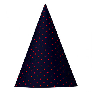 Party Hat Dark Blue with Red Dots