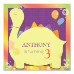 "Party Hat Dinosaur Cute Kid's Birthday Party 5.25"" Square Invitation Card"