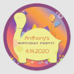 Party Hat Dinosaur Kid's Birthday Party Stickers