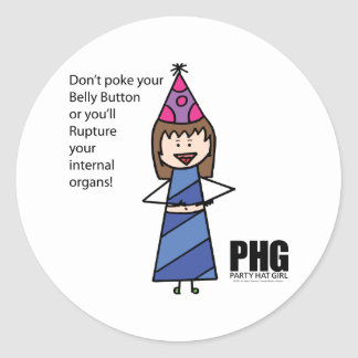 Party Hat Girl -- Belly Button Classic Round Sticker