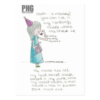 Party Hat Girl--Mousey Postcard