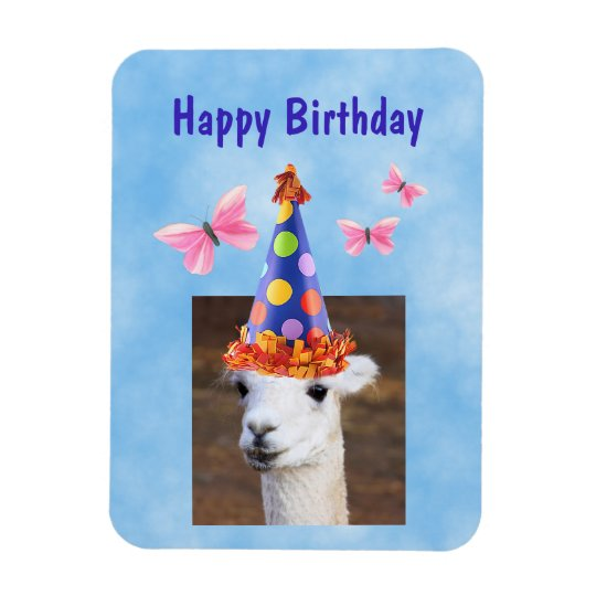 Party Hat Llama Birthday Magnet