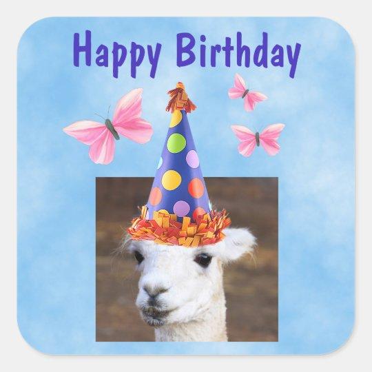 Party Hat Llama Birthday Square Sticker