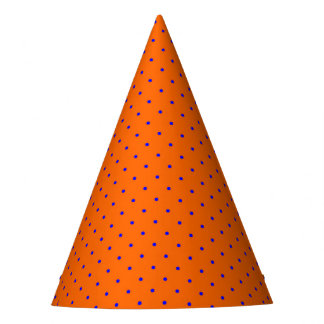 Party Hat Orange with Royal Blue Dots