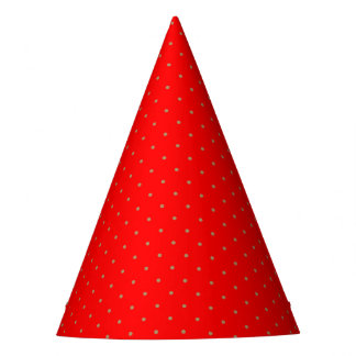 Party Hat Red with Golden Dots